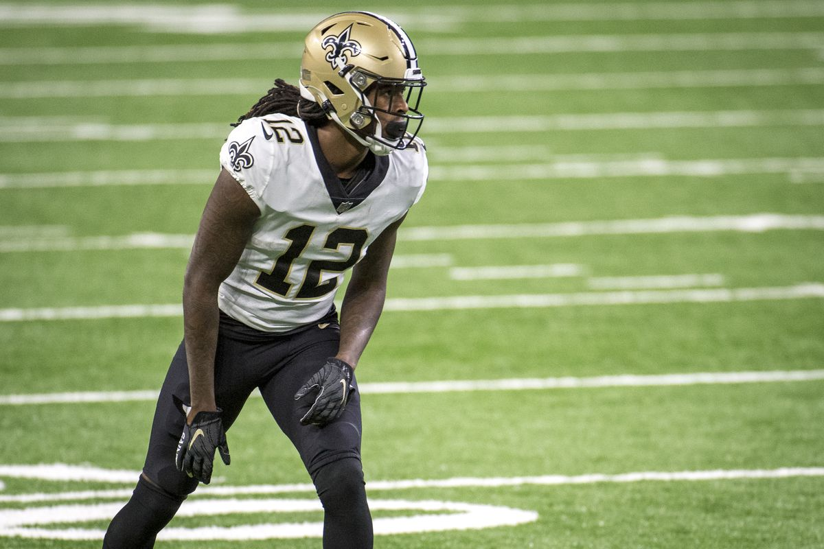 Marquez Callaway #12 of the New Orleans Saints looks on during the first quarter against the Detroit Lions at Ford Field on October 4, 2020 in Detroit, Michigan.