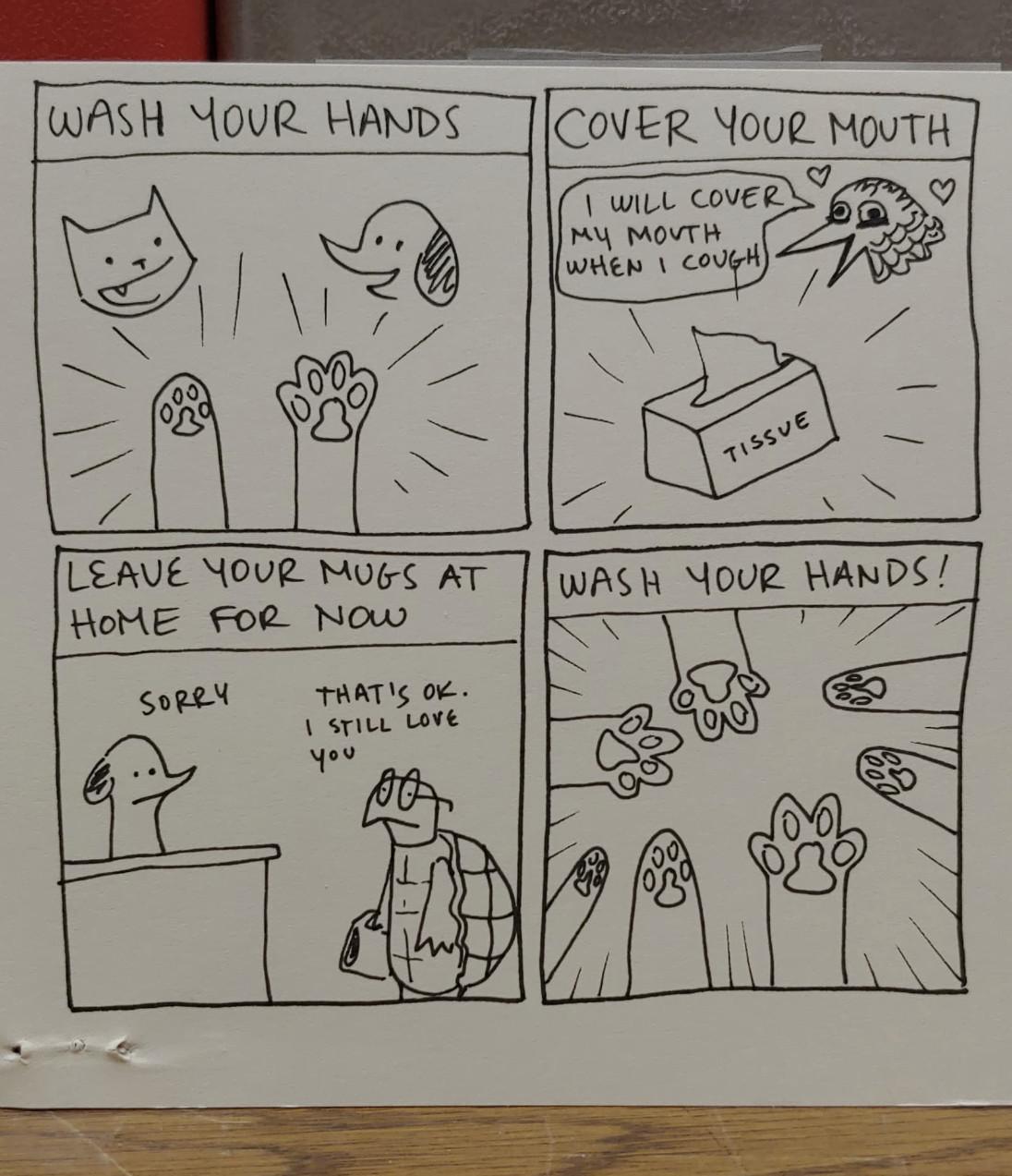 Epoch Coffee put up a cute comic encouraging general hygiene by illustrator NE Hensley
