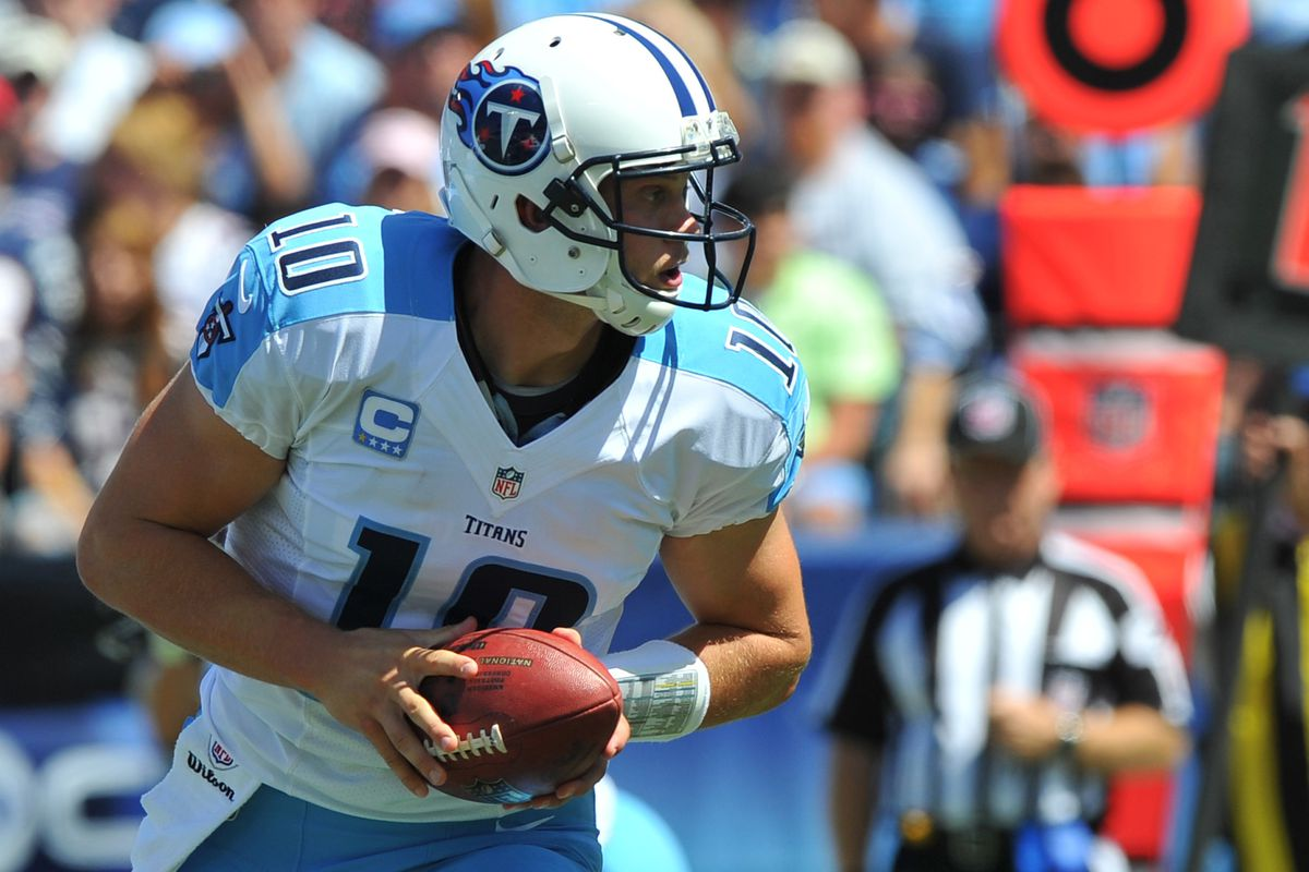 Sep 09, 2012; Nashville, TN, USA; Tennessee Titans quarterback Jake Locker (10) drops back to hand off against the New England Patriots during the second half at LP Field. The Patriots beat the Titans 34-13. Mandatory credit: Don McPeak-US PRESSWIRE