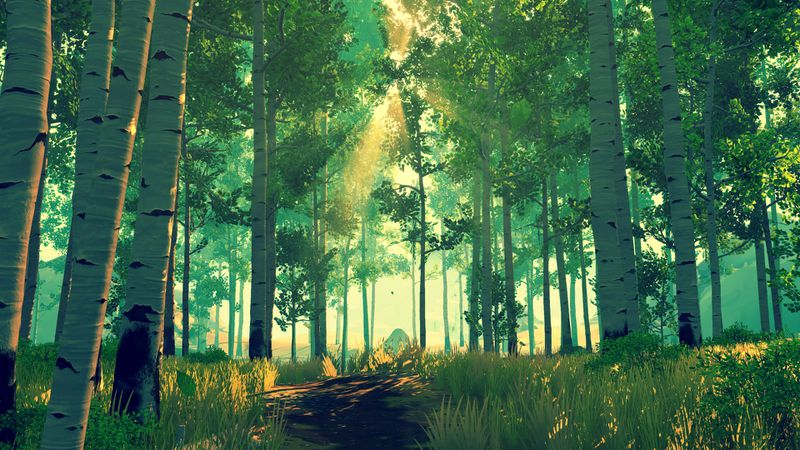 Firewatch - green forest of birch trees