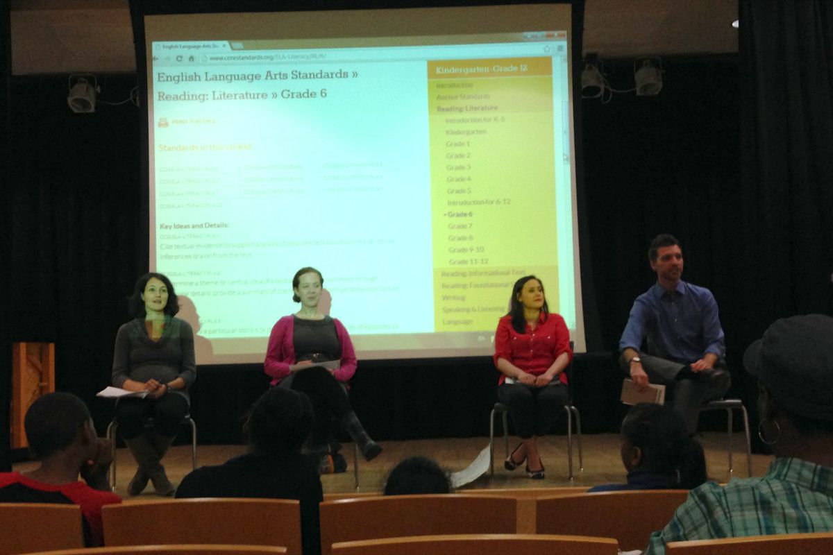 The teachers on Chalkbeat's Common Core literacy panel were (from left to right): Meredith Jacks, Anna Staab, and Catherine Miller. Chalkbeat reporter Patrick Wall moderated the discussion.