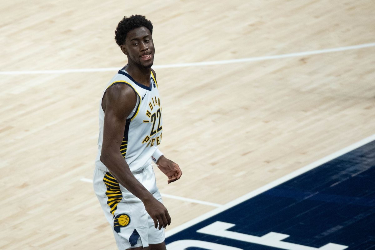 Indiana Pacers guard Caris LeVert celebrates a made three-point basket in the fourth quarter against the Detroit Pistons at Bankers Life Fieldhouse.