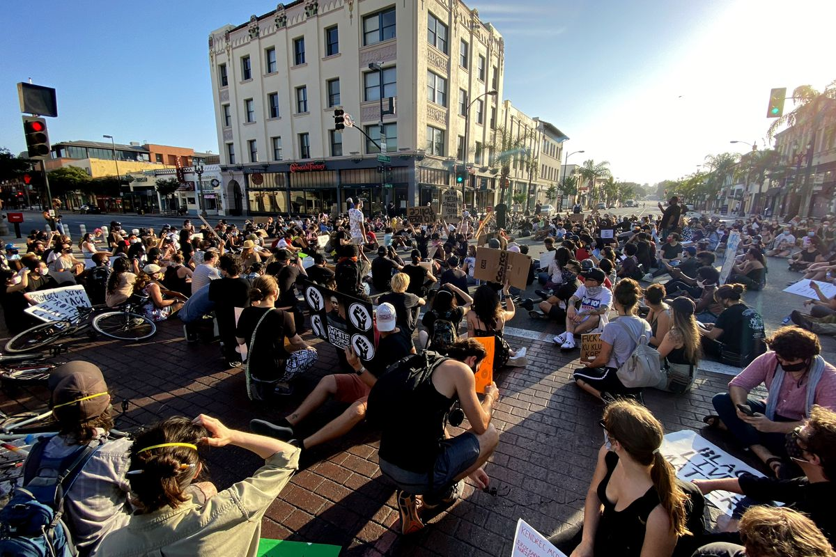 Demonstrators protest in Pasadena after the death of George Floyd.