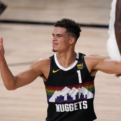 Denver Nuggets' Michael Porter Jr. (1) gestures during play against the Utah Jazz during the first half an NBA first round playoff basketball game, Tuesday, Sept. 1, 2020, in Lake Buena Vista, Fla.