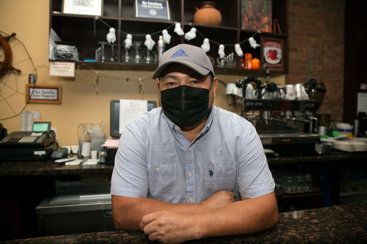 Desiderio Gonzalez works out of his restaurant, Desy's Clam Bar, in Williamsburg, Brooklyn, Oct. 2, 2020.