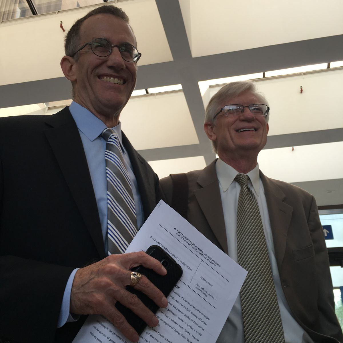 Civil rights attorneys Locke Bowman and G. Flint Taylor  Rummana Hussain/For the Sun-Times