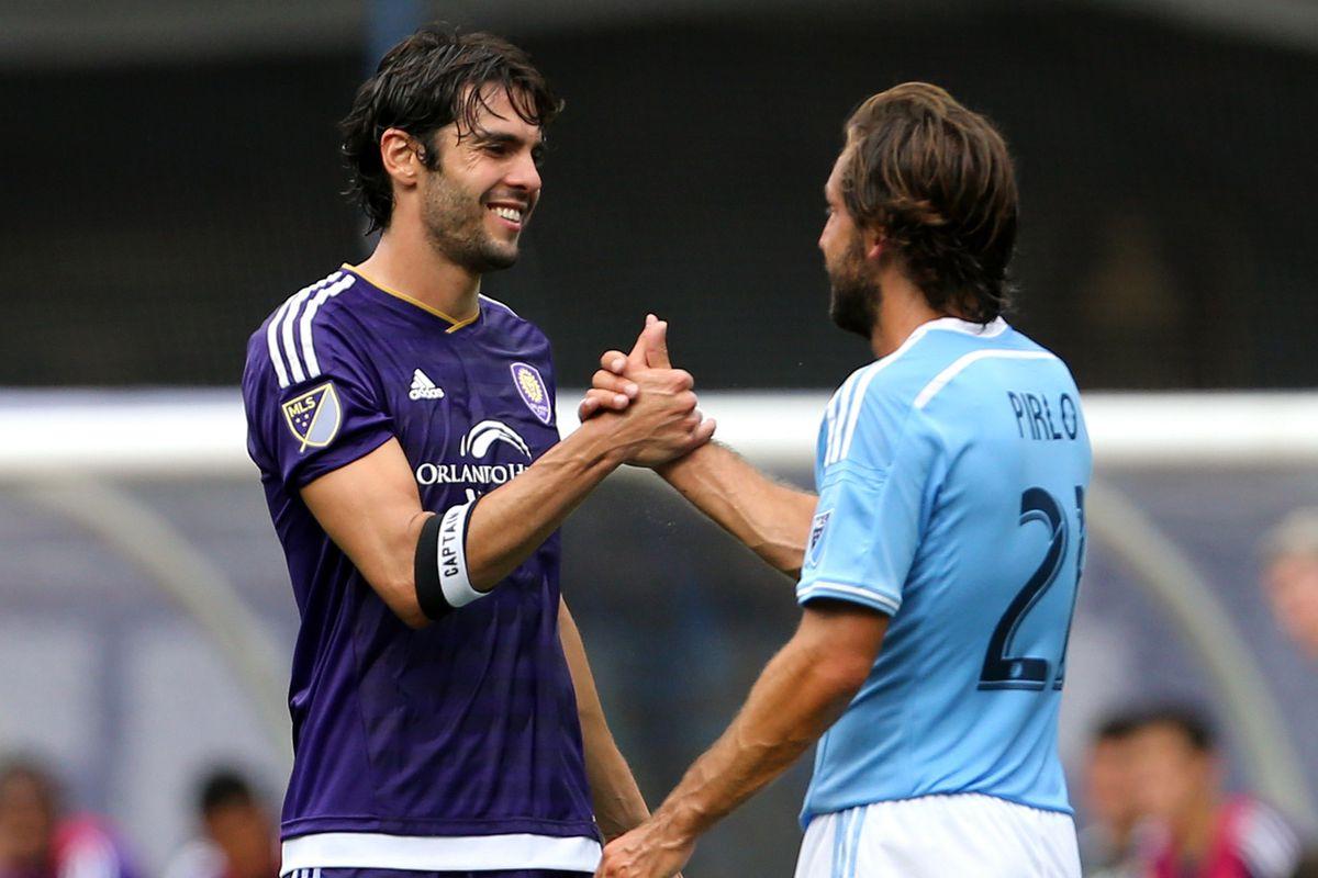 Andrea Pirlo's debut in MLS came against former Milan teammate Kaka.