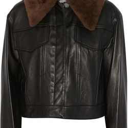 Shearling-trimmed leather coat, $650