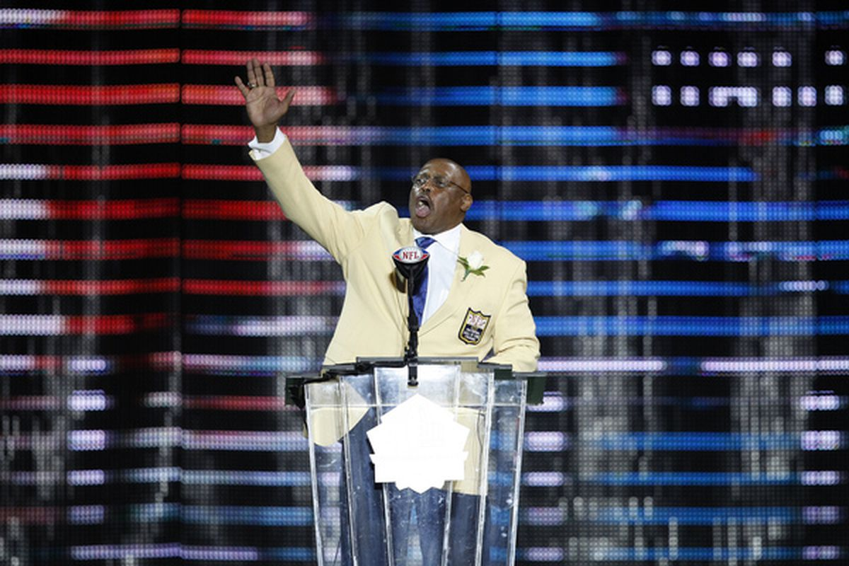 CANTON OH - AUGUST 7: Floyd Little speaks to the crowd during the 2010 Pro Football Hall of Fame Enshrinement Ceremony at the Pro Football Hall of Fame Field at Fawcett Stadium on August 7 2010 in Canton Ohio. (Photo by Joe Robbins/Getty Images)