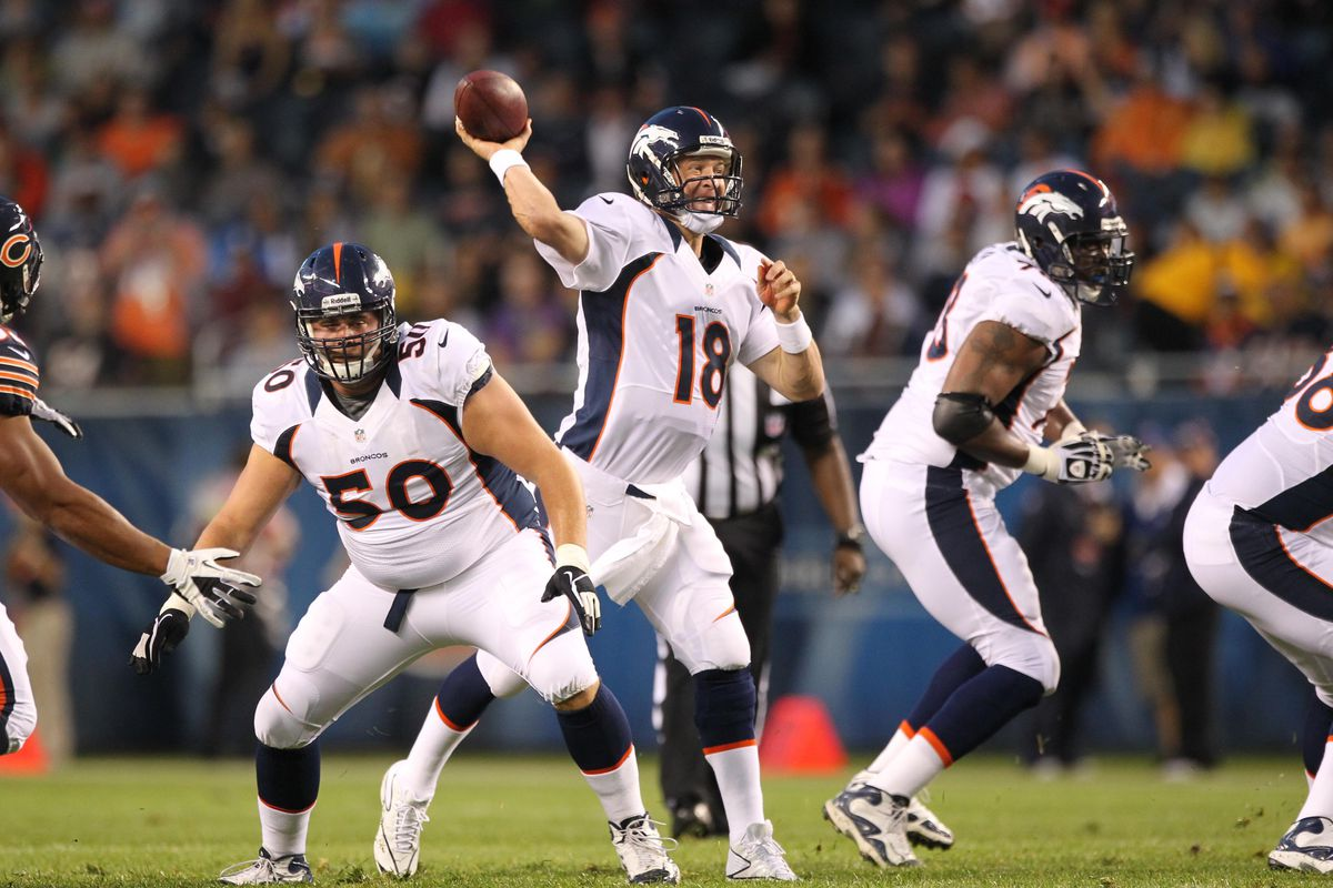 Aug 9, 2012; Chicago, IL, USA; Denver Broncos quarterback Peyton Manning (18) throws in the pocket against the Chicago Bears at Soldier Field.  Mandatory Credit: Matthew Emmons-US PRESSWIRE