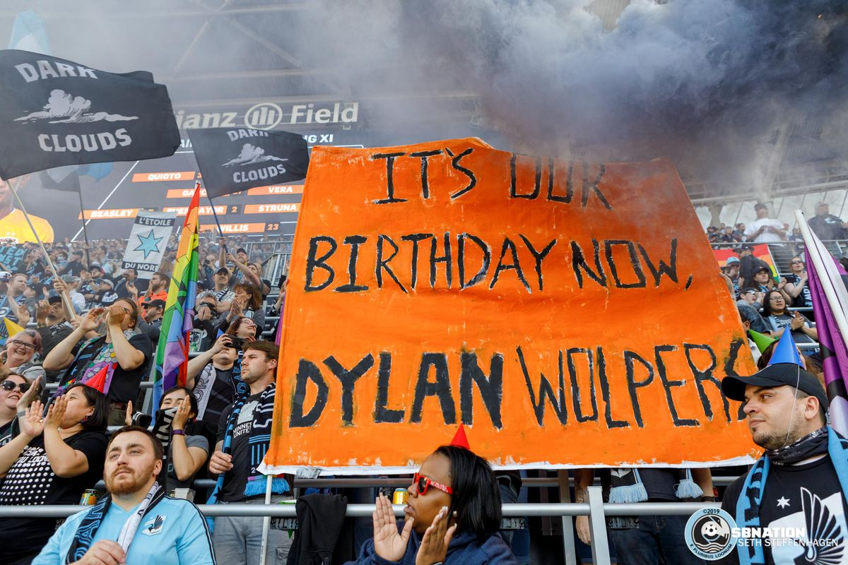 May 25, 2019 - Saint Paul, Minnesota, United States - Supporters display a small tifo in honor of the Dylan Wolpers Derby as Minnesota United host Houston Dynamo at Allianz Field.   (Photo by Seth Steffenhagen/Steffenhagen Photography)