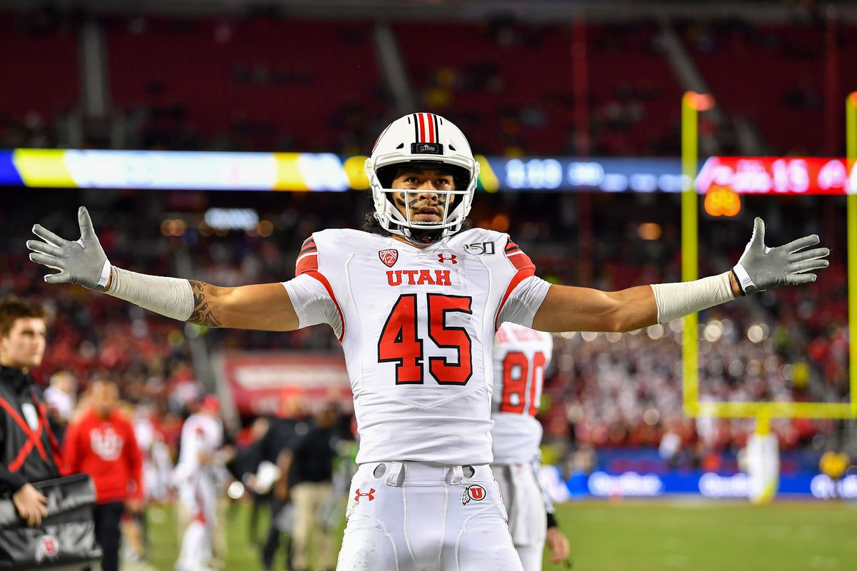 Samson Nacua of the Utah Utes celebrates after scoring a touchdown and a two point conversion late in the third quarter during the Pac-12 Championship football game against the Oregon Ducks at Levi's Stadium on December 6, 2019 in Santa Clara, California.