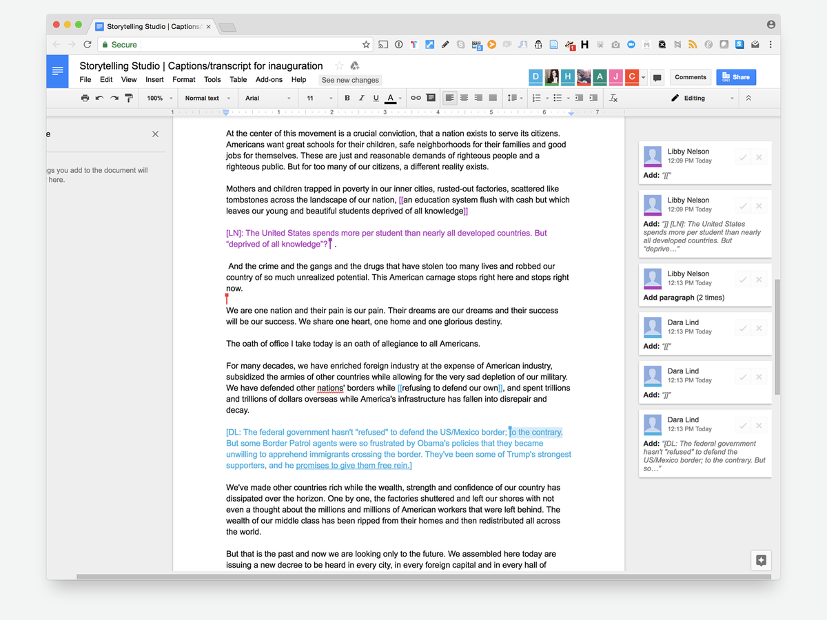 Screenshot of a Google doc, with multiple editors suggesting annotations and the transcript being copy edited live.