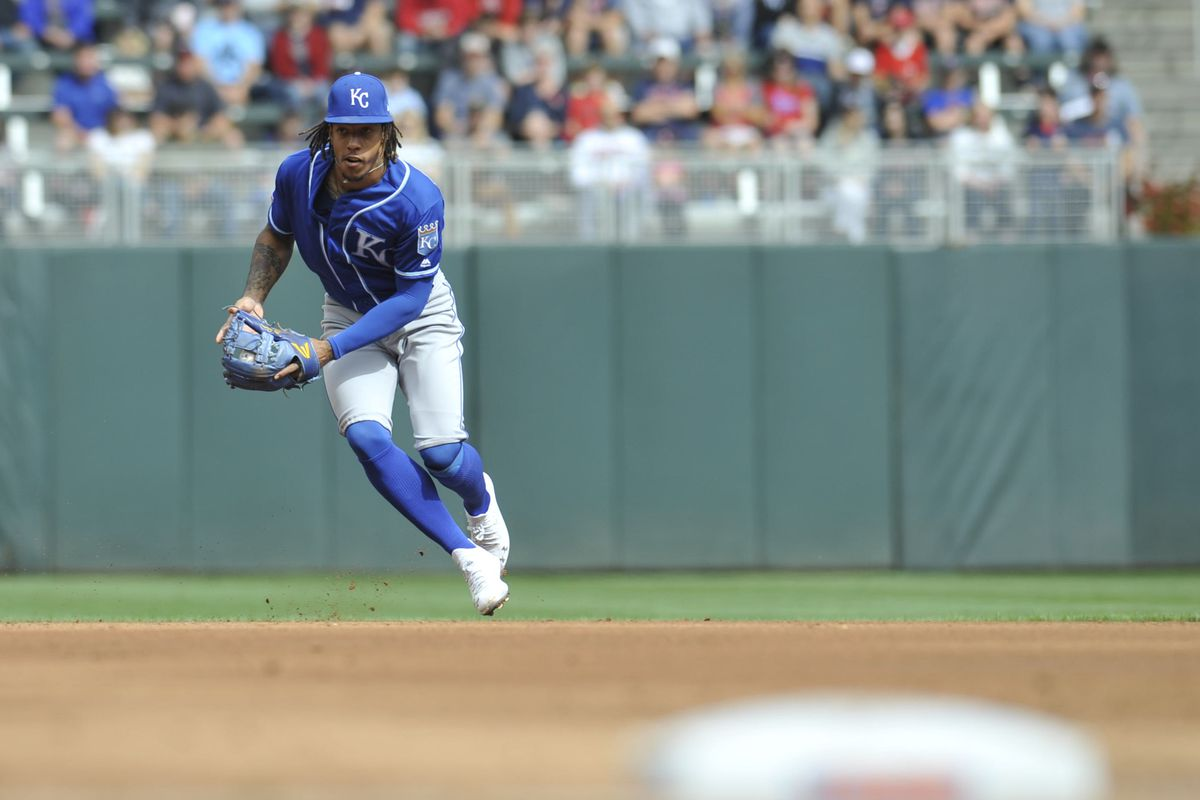 Kansas City Royals shortstop Adalberto Mondesi (27) fields and throws for an out against the Minnesota Twins during the first inning at Target Field.