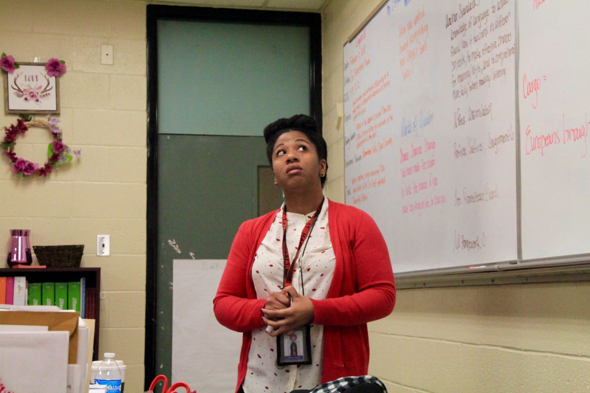 Brown says her facial expressions can do the talking for her when her students get off track.