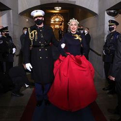 Lady Gaga arrives to sing the National Anthem at the inauguration of U.S. President-elect Joe Biden on the West Front of the U.S. Capitol on January 20, 2021 in Washington, DC. During today's inauguration ceremony Joe Biden becomes the 46th president of the United States.