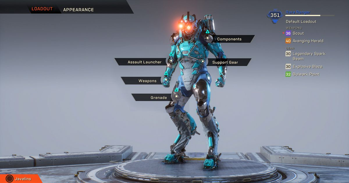 Anthem - customizing Javelin in the Forge