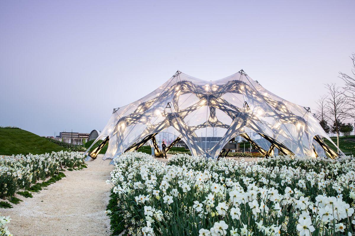 Translucent pavilion in garden