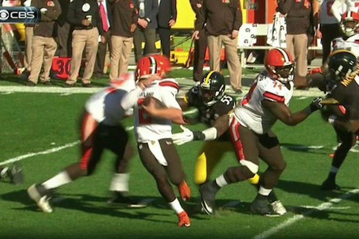 b5149ea99 Steelers OLB Arthur Moats fined league minimum for facemask on Browns QB Johnny  Manziel