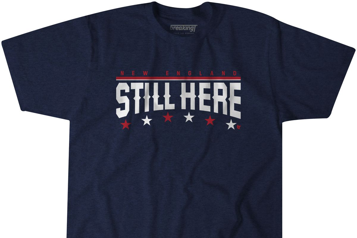 "14c927ec438 Super Bowl 2019: Patriots' ""We're Still Here"" motto lives on as a T ..."