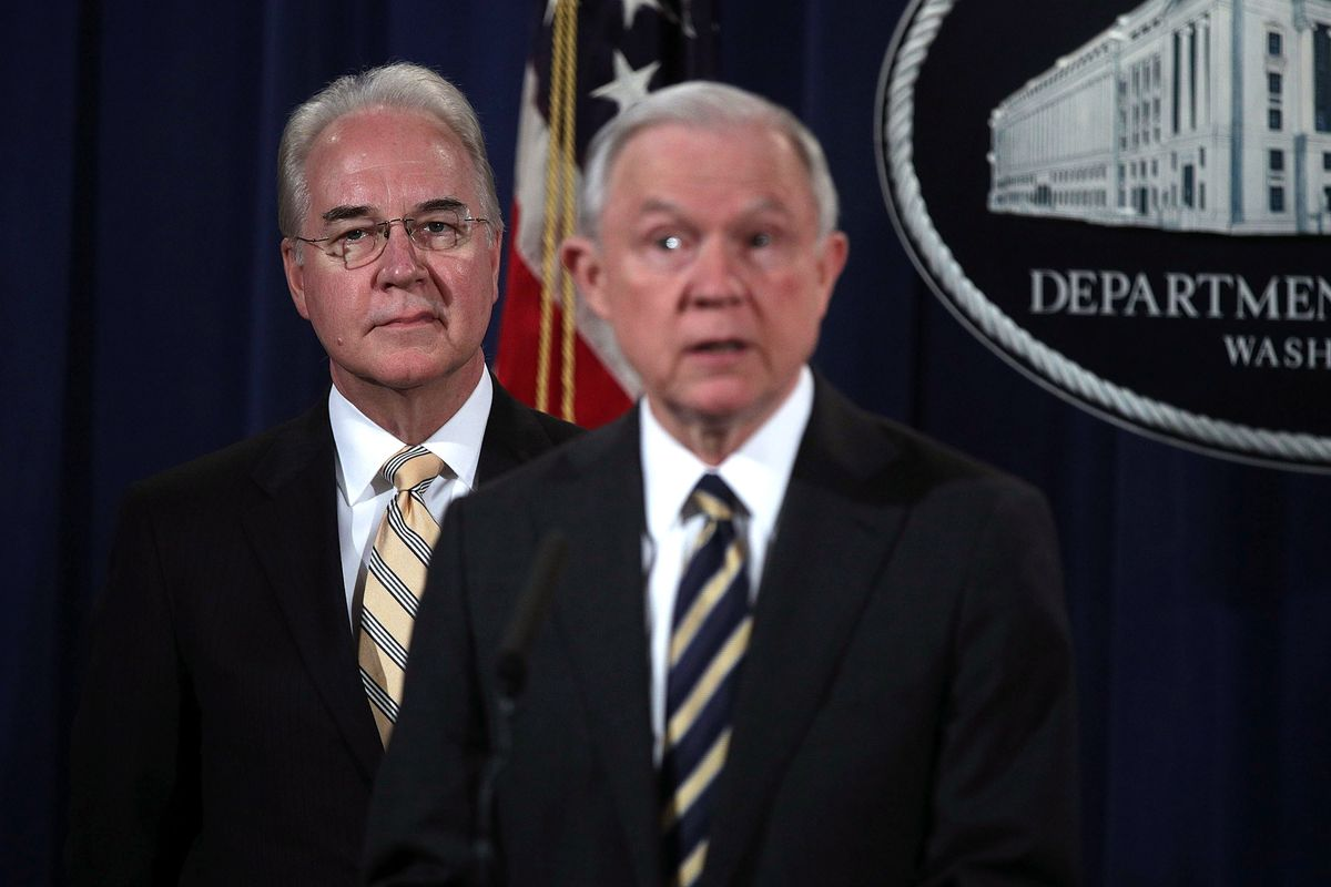 US Attorney General Jeff Sessions with Health and Human Services Secretary Tom Price during a news conference.