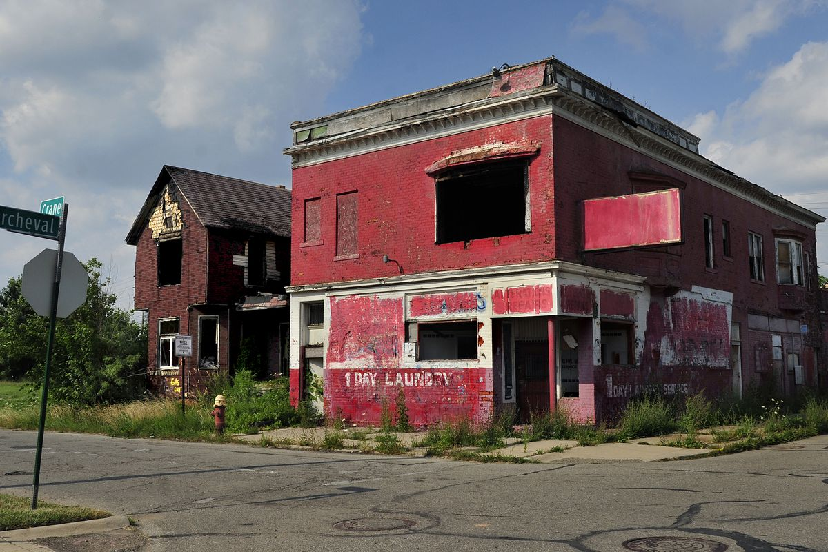 Abandoned businesses in Detroit.