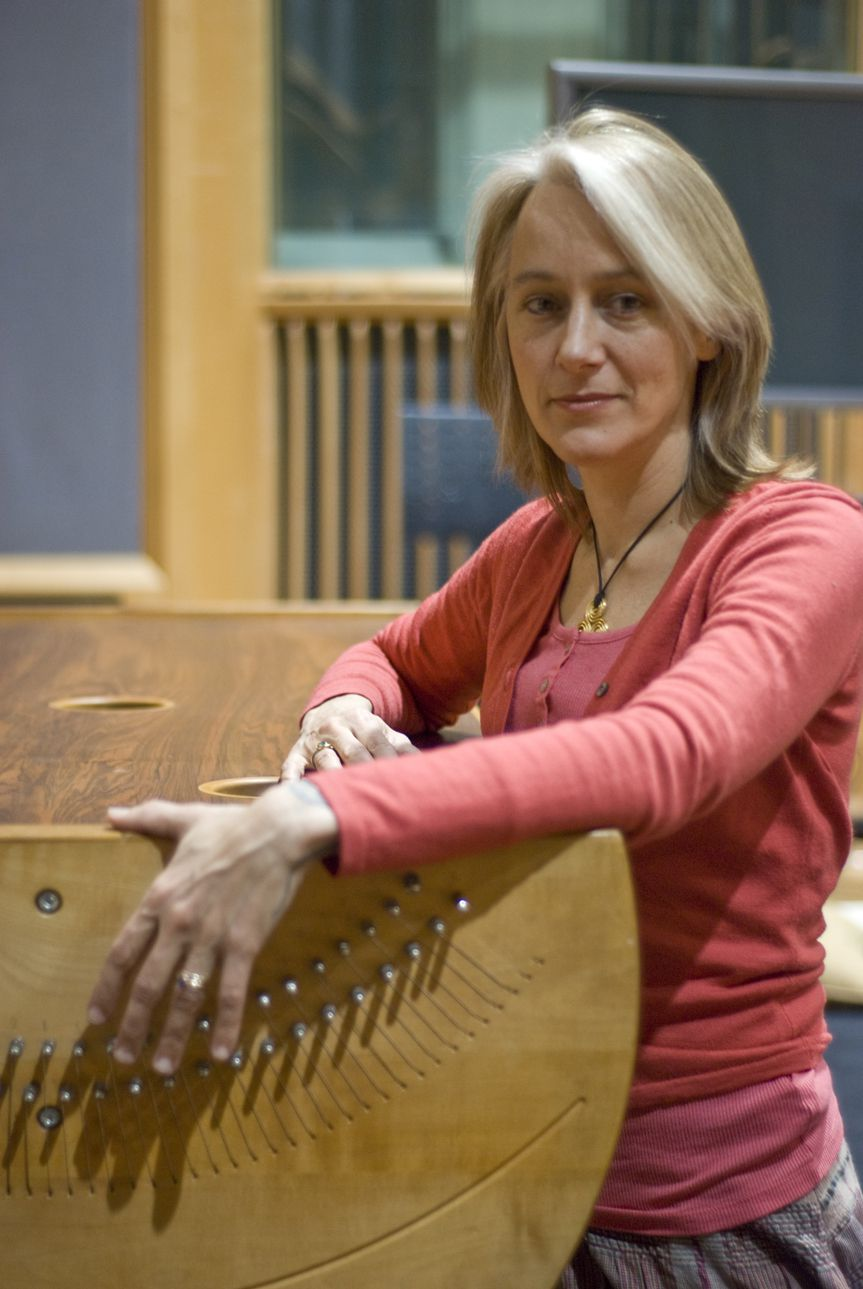 Sonia Slany standing by her monochord
