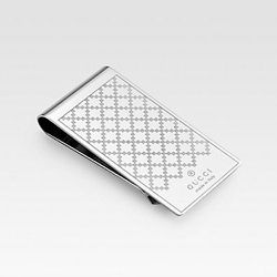 """<strong>Gucci</strong> Diamante Pattern Money Clip in Palladium, <a href=""""http://www.gucci.com/us/styles/295837J160N8126#"""">$100</a>"""