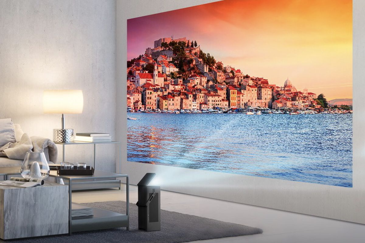 LG's compact portable 4K laser projector comes with a handle
