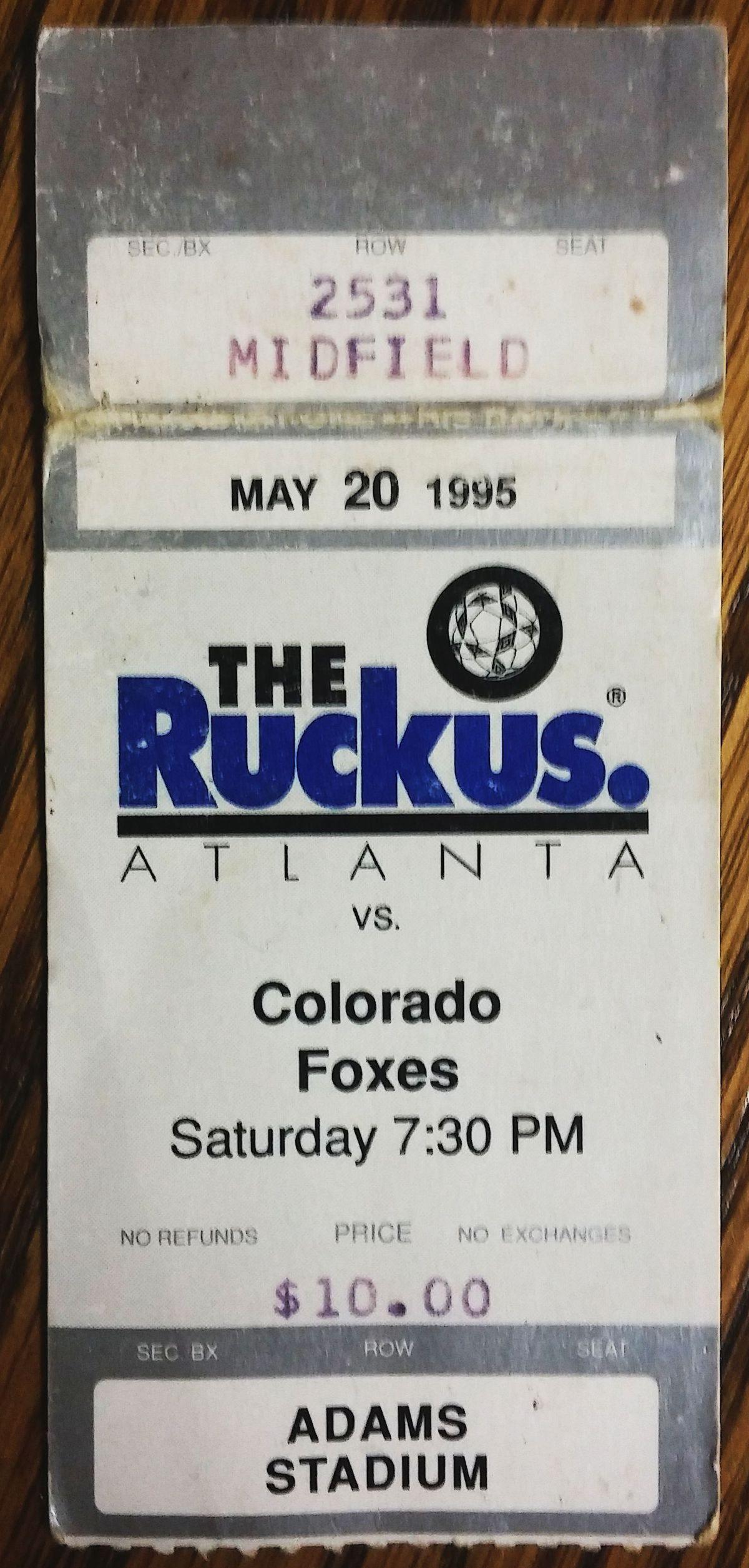 Ticket stub from Ruckus home opener
