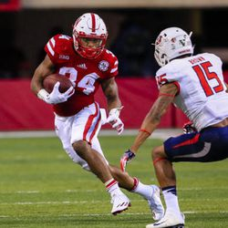 Nebraska running back Terrell Newby (34) carries the ball against Fresno State defensive back Stratton Brown (15) during the first half of an NCAA college football game in Lincoln, Neb., Saturday, Sept. 3, 2016. (AP Photo/Nati Harnik)