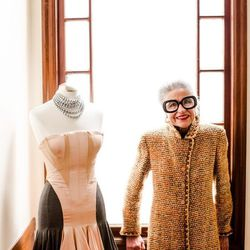 Bianchi with an Alexander McQueen dress, which is not for sale but part of her archives.