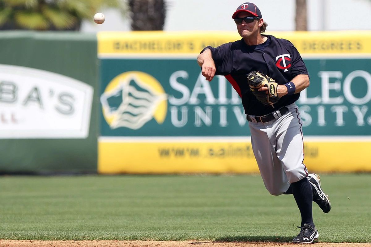 March 23, 2012; Tampa, FL, USA; Minnesota Twins shortstop Brian Dozier (77) throws the ball to first for an out in the third inning against the New York Yankees at George M. Steinbrenner Field. Mandatory Credit: Kim Klement-US PRESSWIRE