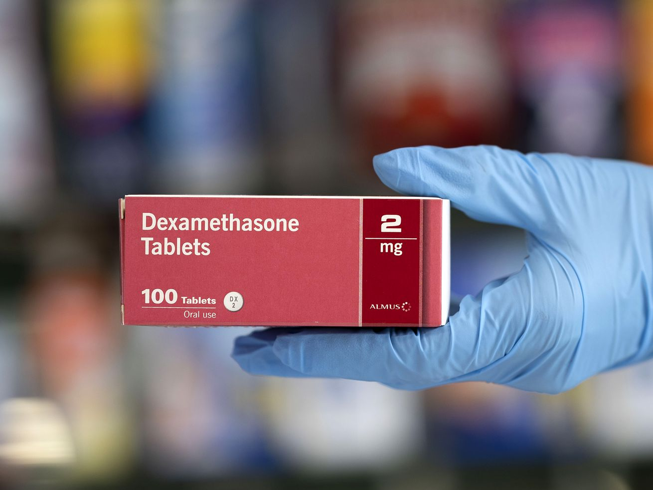 In this photo illustration, a close-up of a box of dexamethasone tablets in a pharmacy on June 16, 2020 in Cardiff, United Kingdom.
