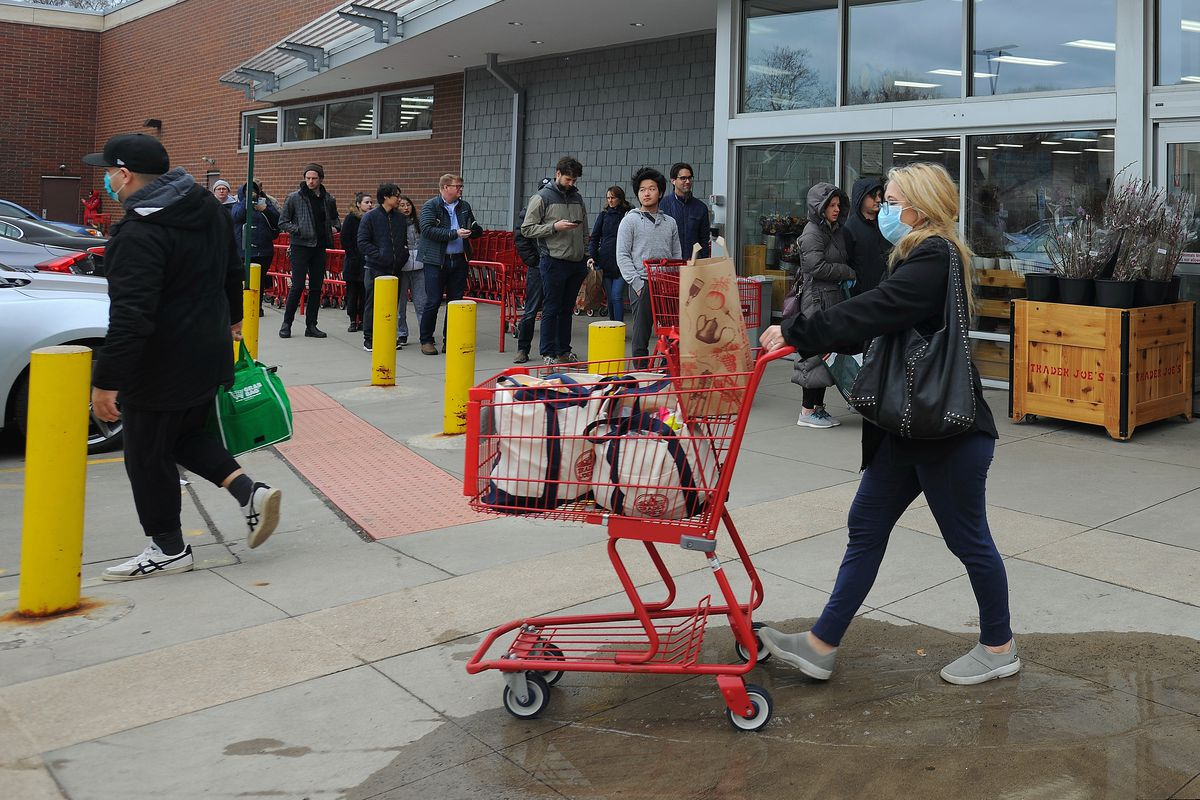 Shoppers line up to get into the the Trader Joe's in Evanston earlier this month.