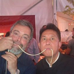 Martin Yan and Drew Nieporent in the tasting tent on Sunday