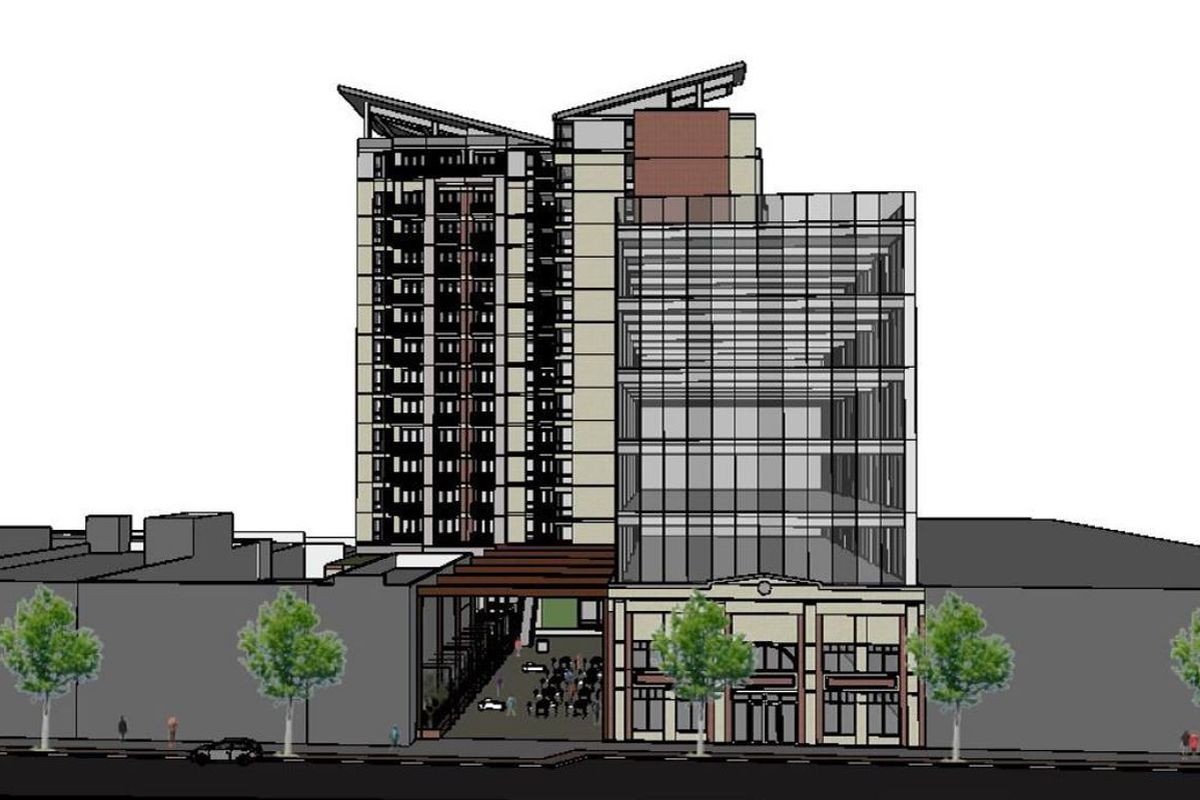A rendering of an apartment building.