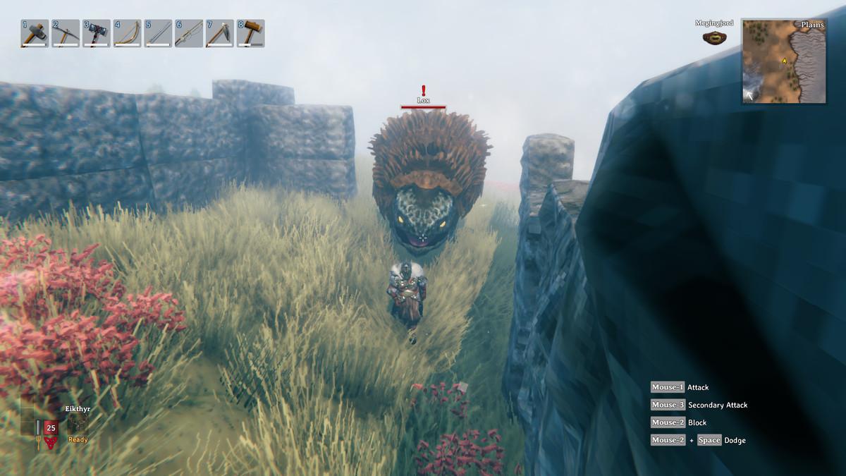 A lox chasing a Viking in Valheim