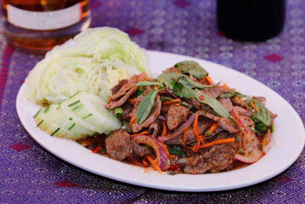 Angus beef waterfall salad, one of well over 100 dishes still on the menu at Kung Fu Thai & Chinese Restaurant.