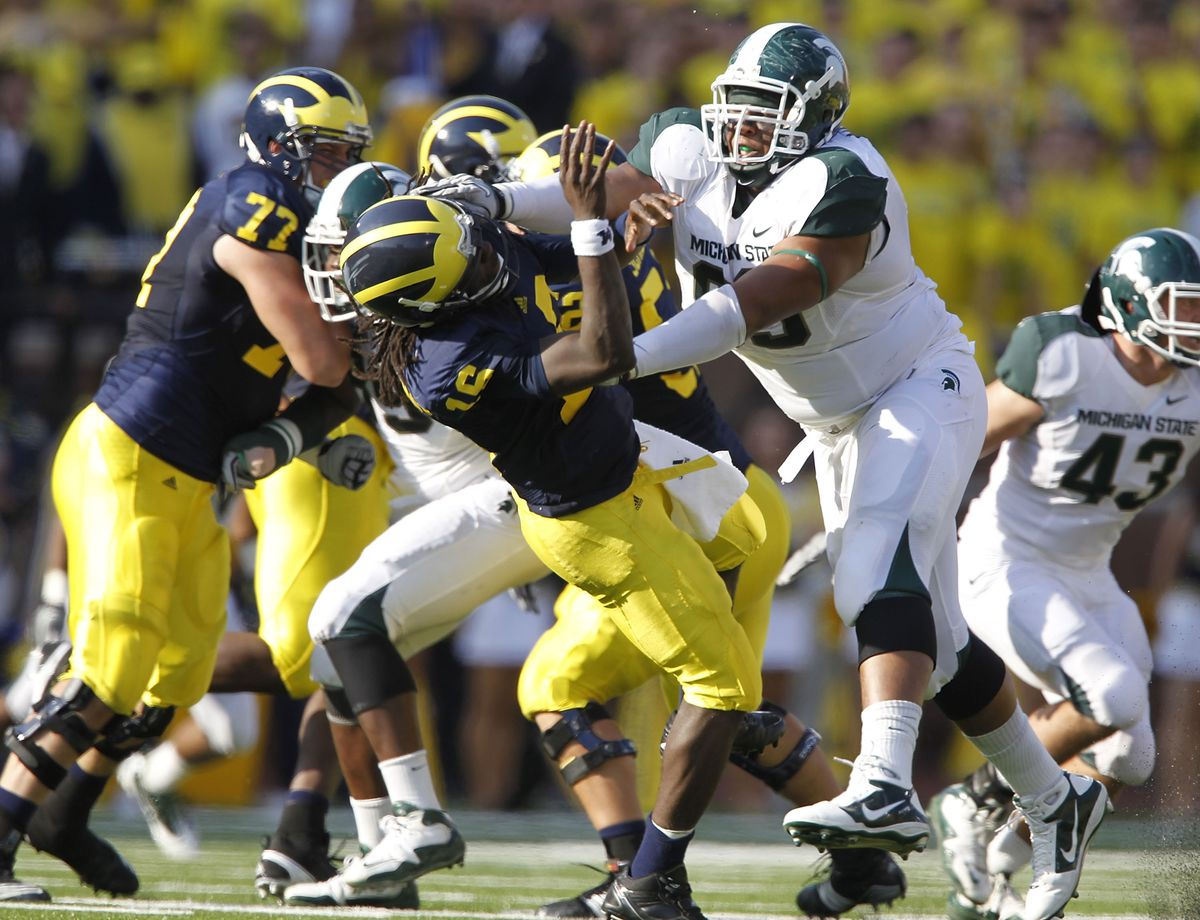 michigan state vs wolverines football msu worthy jerel mi spartans punt sunday select packers defensive tackle second round denard robinson
