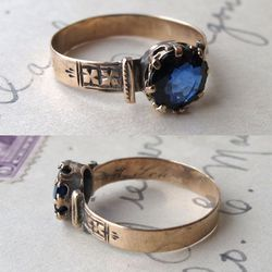 """Erica Weiner's one-of-a-kind <a href=""""http://ericaweiner.com/item.php?item_id=865&page=4&category_id=54"""">Victorian sapphire</a>, $975"""