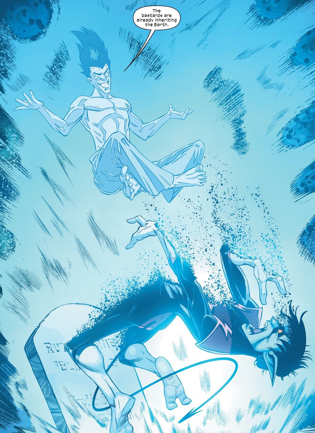 Legion levitates above Nightcrawler as he renders the latter's body into atoms in Way of X #1, Marvel Comics (2021).