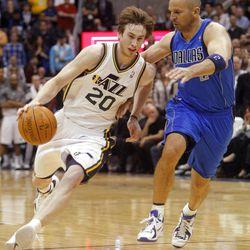 Utah Jazz guard Gordon Hayward (20) drives on Dallas Mavericks guard Jason Kidd (2) as the Utah Jazz and the Dallas Mavericks play Monday, April 16, 2012 in Salt Lake City.