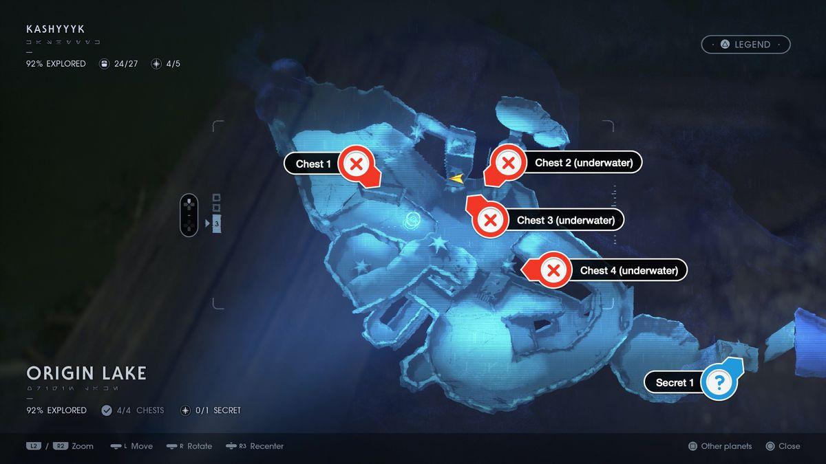 Star Wars Jedi Fallen Order Kashyyyk Origin Lake chests and secrets locations map