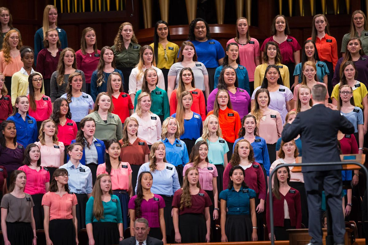 Missionaries from the MTC in Provo Utah, sing during the Saturday afternoon session of the 186th Semiannual General Conference at the Conference Center in Salt Lake City on Saturday, Oct. 1, 2016.