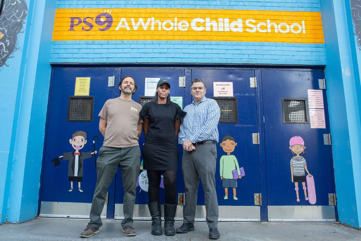 Parents Raul Rothblatt, Krystal Linton and Andrew Case (l-r) fought to remove the name Teunis G. Bergen, the scion of a slave-holding family, from Brooklyn's P.S. 9. The school will be renamed in honor of Sarah Smith Garnet, the first African-American woman to be principal of a New York City public school.