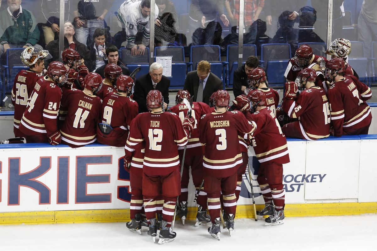 Boston College coach Jerry York directs his team against UConn in a game earlier this season.