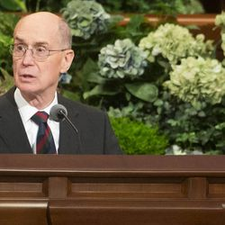 President Henry B Eyring conducts the Saturday morning session of the 183rd Semiannual General Conference for the Church of Jesus Christ of Latter-day Saints Saturday, Oct. 5, 2013 inside the Conference Center.