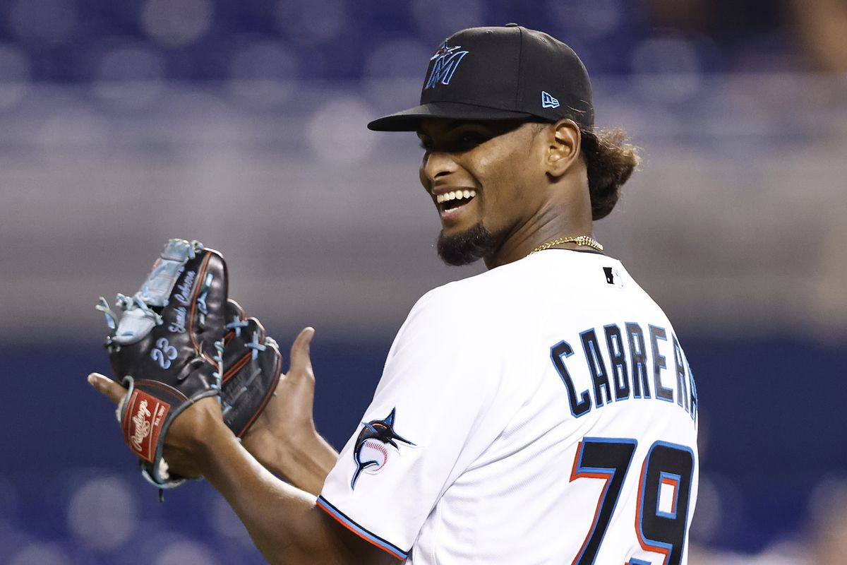 Edward Cabrera #79 of the Miami Marlins reacts to a double play during the sixth inning against the Washington Nationals at loanDepot park