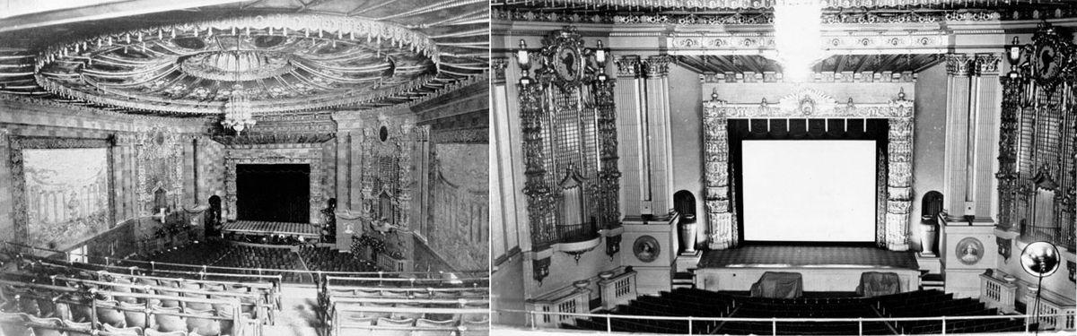 Left, Castro Theatre in 1927; right, Castro Theatre post-1937.